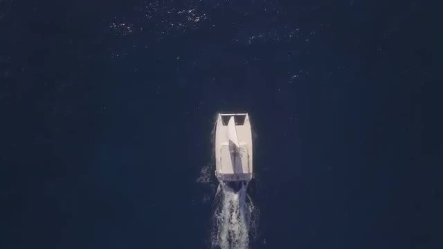 Sailing Yacht Top View : Stock Video