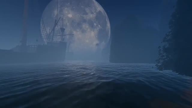 Big Moon And Old Ship: Stock Motion Graphics