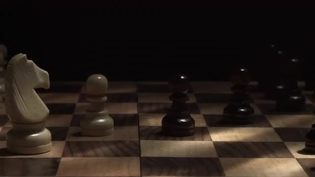 Panning Shot Of Chess Board: Stock Video