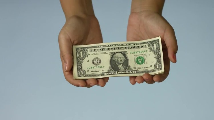 Hands Holding One Dollar Bills : Stock Video