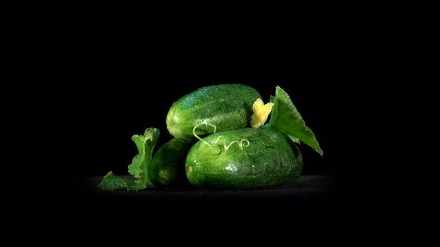 Fresh Cucumbers Rotating Loop: Stock Video