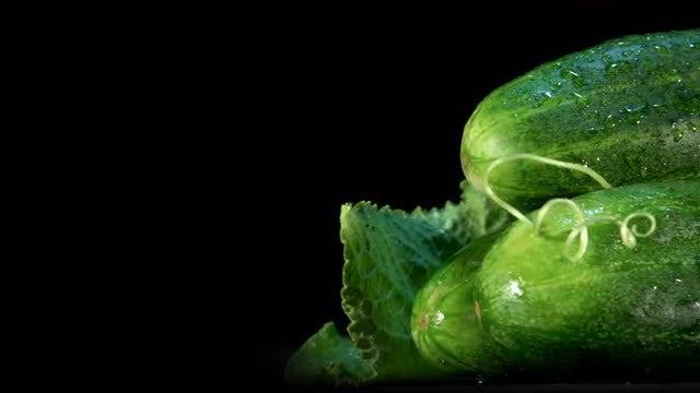 Closeup Of Cucumbers: Stock Video