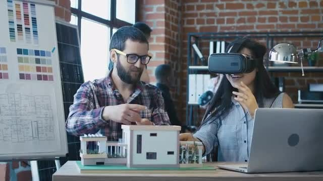 Architects Using Virtual Reality Goggles: Stock Video