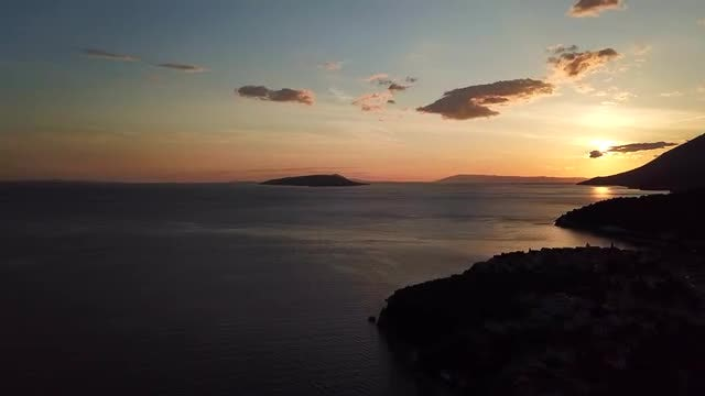 Sea Sunset Aerial View: Stock Video