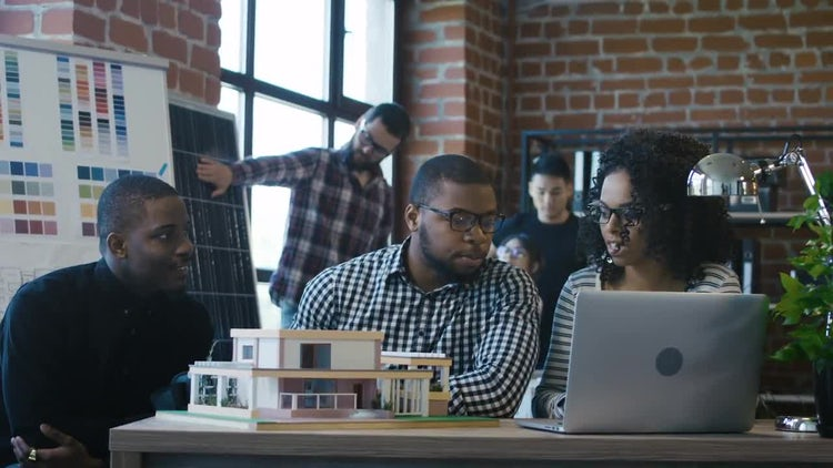 Young African-American Architects Discussing Project: Stock Video