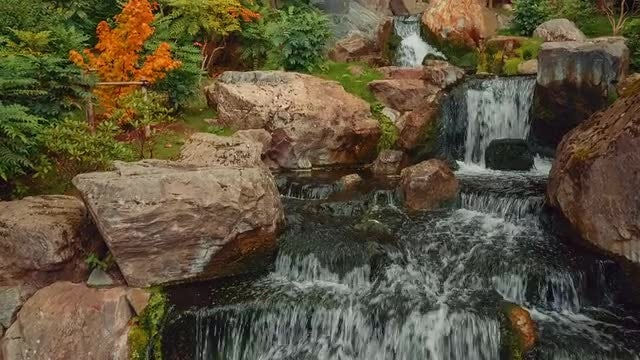 Quaint Japanese Garden During Autumn: Stock Video