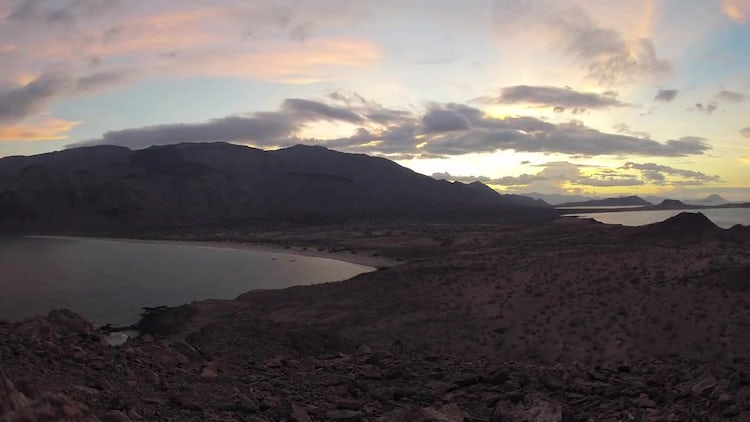 Sunset Over Caldera: Stock Video