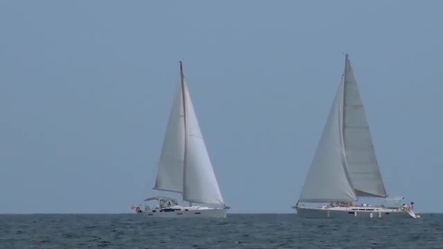 Two Sailing Boats At Sea: Stock Video