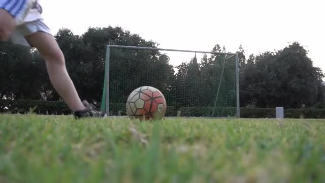Football Player Scores Goal Slow Motion: Stock Video