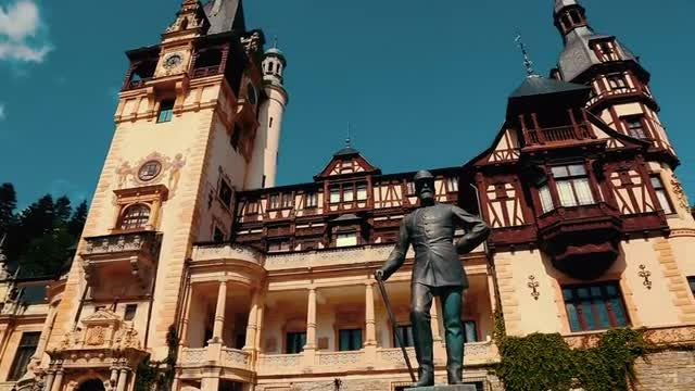 Panoramic Shot Of Peles Castle: Stock Video