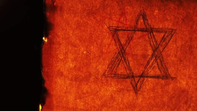 Old Paper With Star Of David Burning: Stock Video