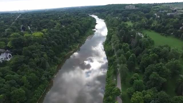 Aerial View Of Calm River : Stock Video