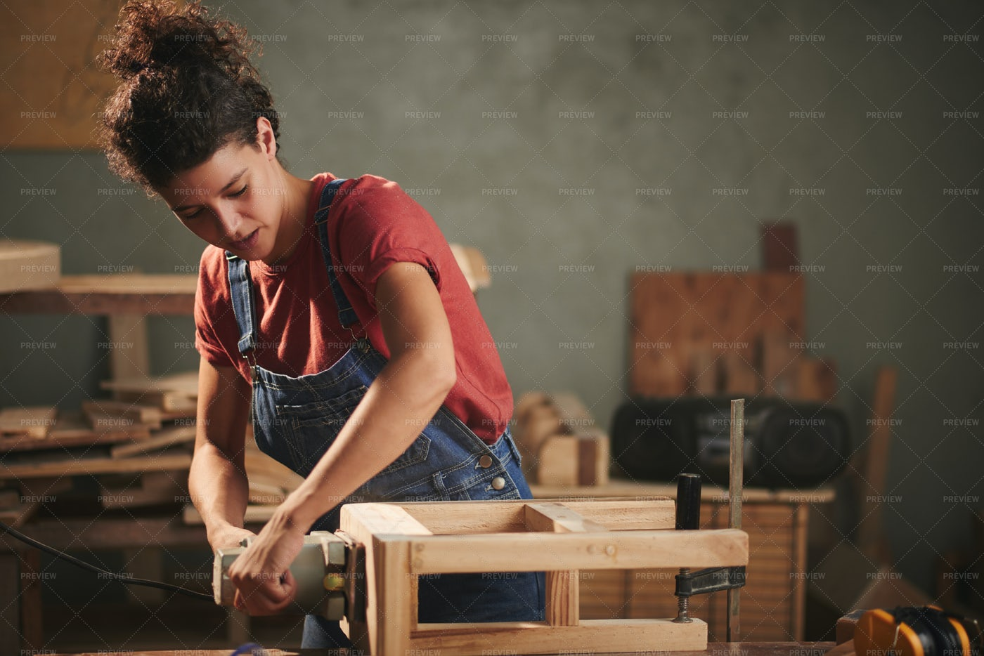 Carpenter Working With Wood: Stock Photos