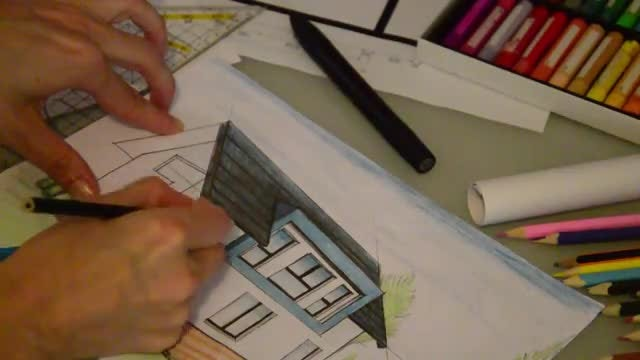 Female Architect Drawing A House: Stock Video
