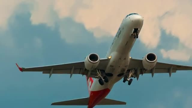 Large White Airliner Taking Off: Stock Video