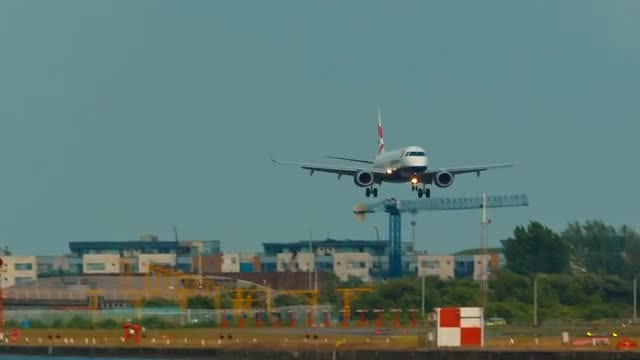 Large Passenger Plane Landing: Stock Video