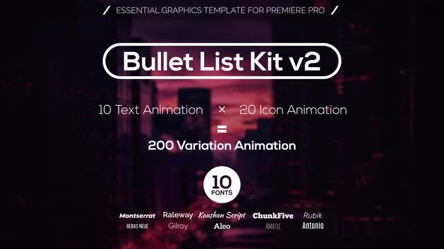 Bullet List Kit v2: Motion Graphics Templates