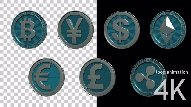 Blue Coins - Loop Animation: Stock Motion Graphics