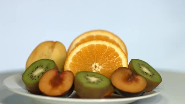 Mixture Of Fruits On Plate: Stock Video