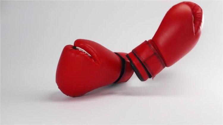 Red Leather Boxing Gloves Falling : Stock Video