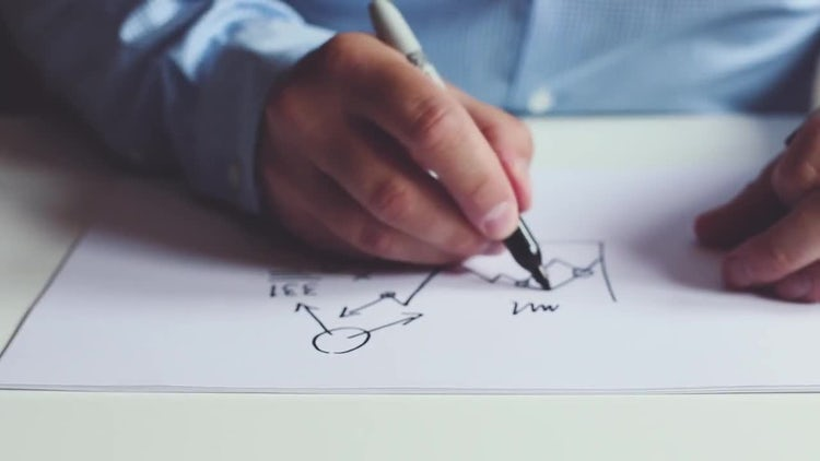 Man Drawing Diagram On Paper: Stock Video