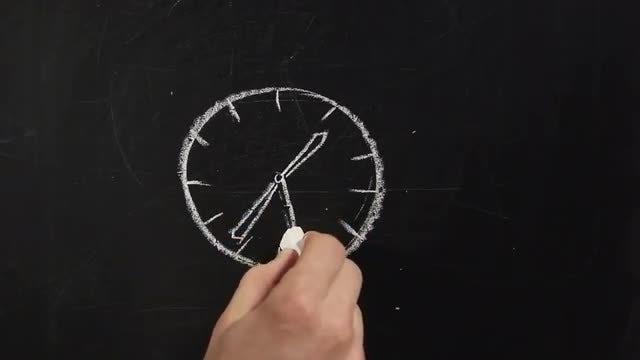 Chalkboard Drawing - Clock: Stock Video