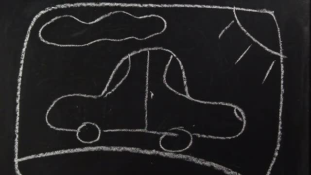 Chalkboard Drawing - Car : Stock Video