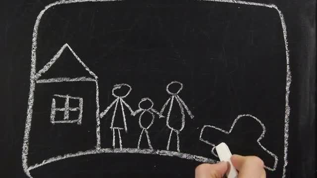 Happy Family Chalkboard Drawing : Stock Video