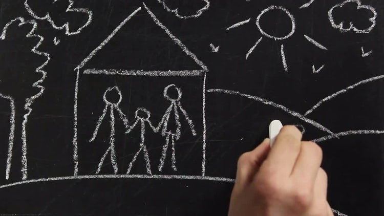 Chalkboard Drawing - Family: Stock Video
