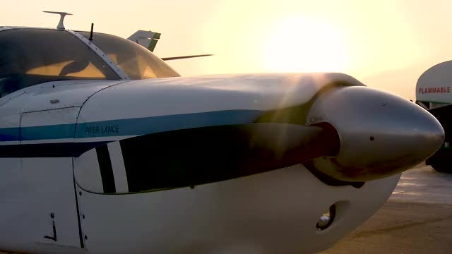 Tilting Shot Of Small Aircraft : Stock Video