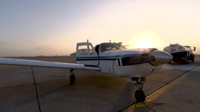 Small Aircraft And Truck: Stock Video