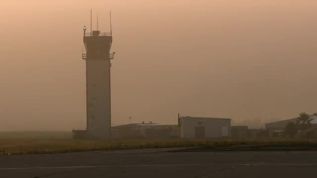 Airport Control Tower At Sunset: Stock Video