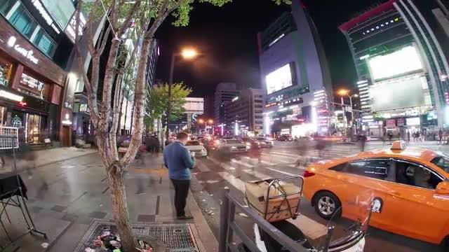 Busy Night Street In Seoul: Stock Video