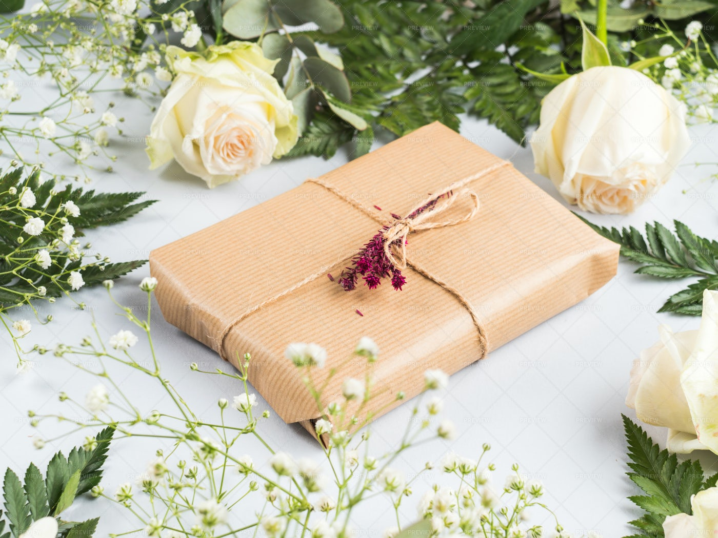 Gift Box With Dried Flowers: Stock Photos