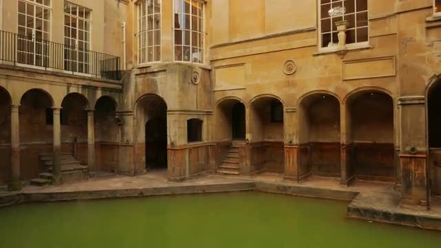 Roman Spa Complex In England: Stock Video