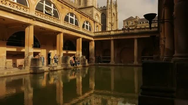 Bath Spa And Cathedral: Stock Video