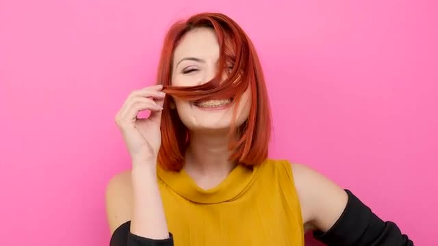 Happy Redhead Girl Smiling: Stock Video