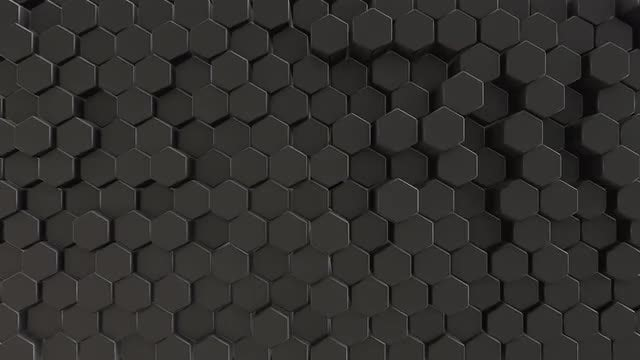 Black Hexagon Field Abstract Background: Stock Motion Graphics