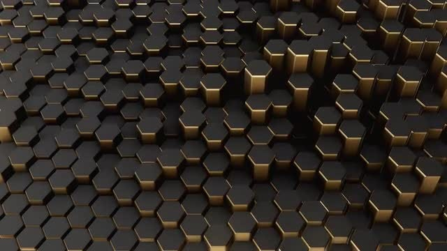 Undulating Black-Gold Hexagon Field: Stock Motion Graphics