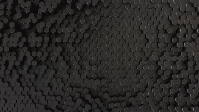 Undulating Black Hexagons Surface: Stock Motion Graphics