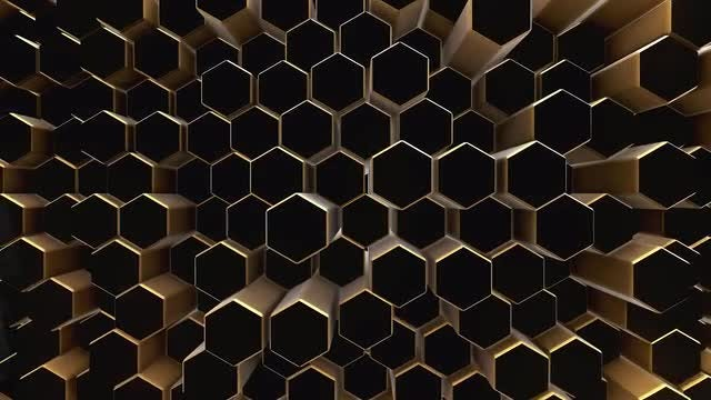 Gold Honeycomb On Black : Stock Motion Graphics