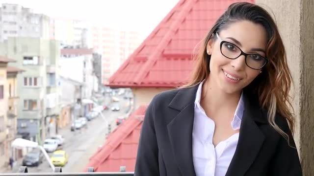 Businesswoman On The Balcony, Smiling: Stock Video