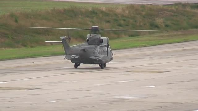 Large Helicopter On The Runway: Stock Video