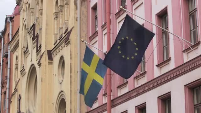 Swedish And European Union Flags : Stock Video