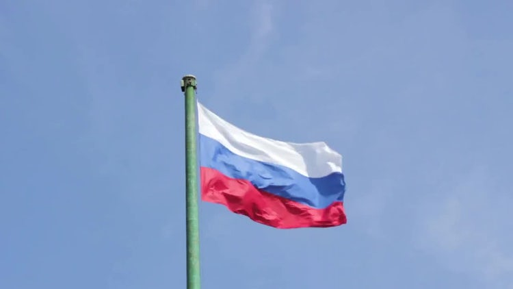 Close Up Of Russian Flag Fluttering : Stock Video
