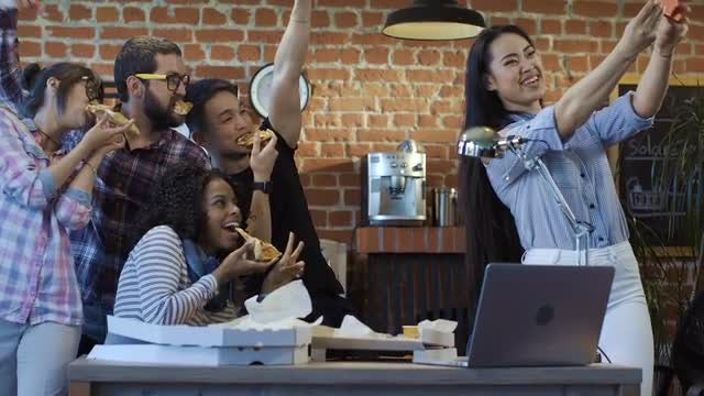 Colleagues Eat Together, Take Selfie: Stock Video
