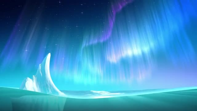 Aurora On Sea Loop: Stock Motion Graphics