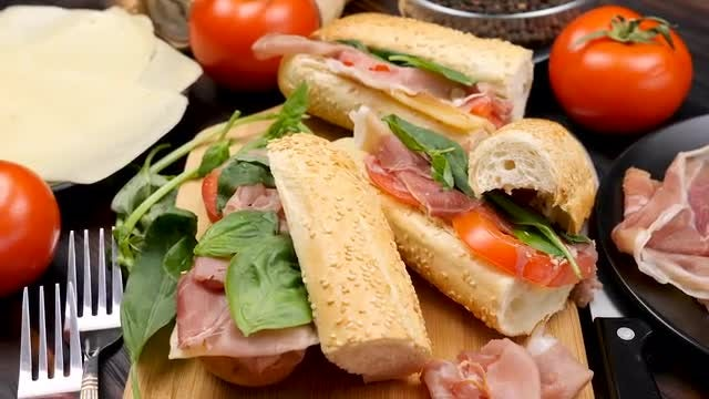 Sandwiches On A Table: Stock Video