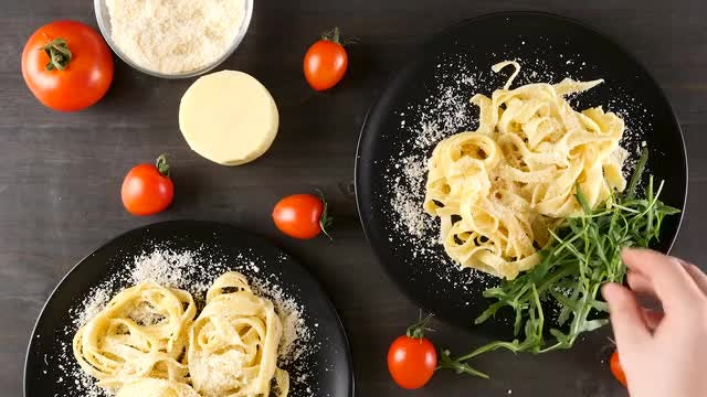 Parmesan Cheese Over Cooked Pasta: Stock Video