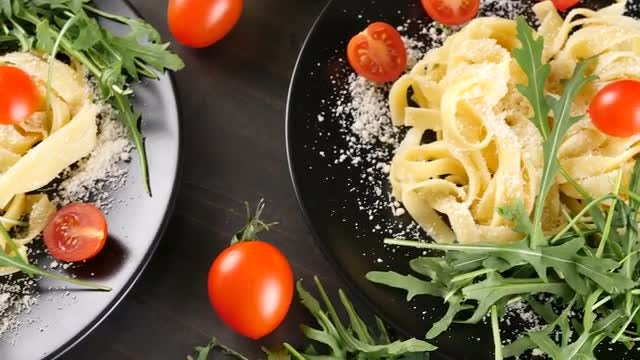Top View Of Pasta And Parmesan Cheese: Stock Video
